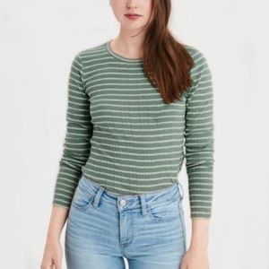 AE Long Sleeve Layering Tee - Green & White Stripe
